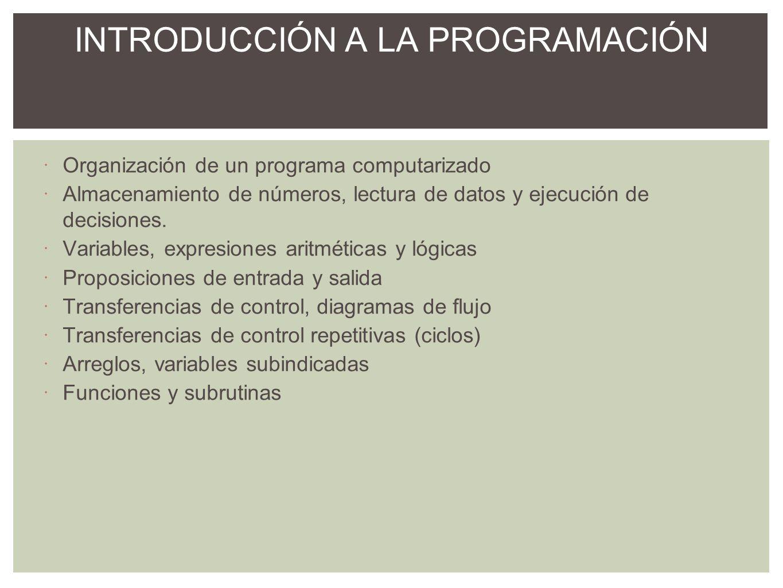 Introducción, elementos del lenguaje Basic Proposiciones de entrada y salida Enunciados de asignación Expresiones aritméticas y lógicas Proposiciones condicionales de transferencia o asignación Variables con subíndices Ciclos, ciclos anidados for/next Funciones y subrutinas INTRODUCCIÓN AL LENGUAJE BASIC