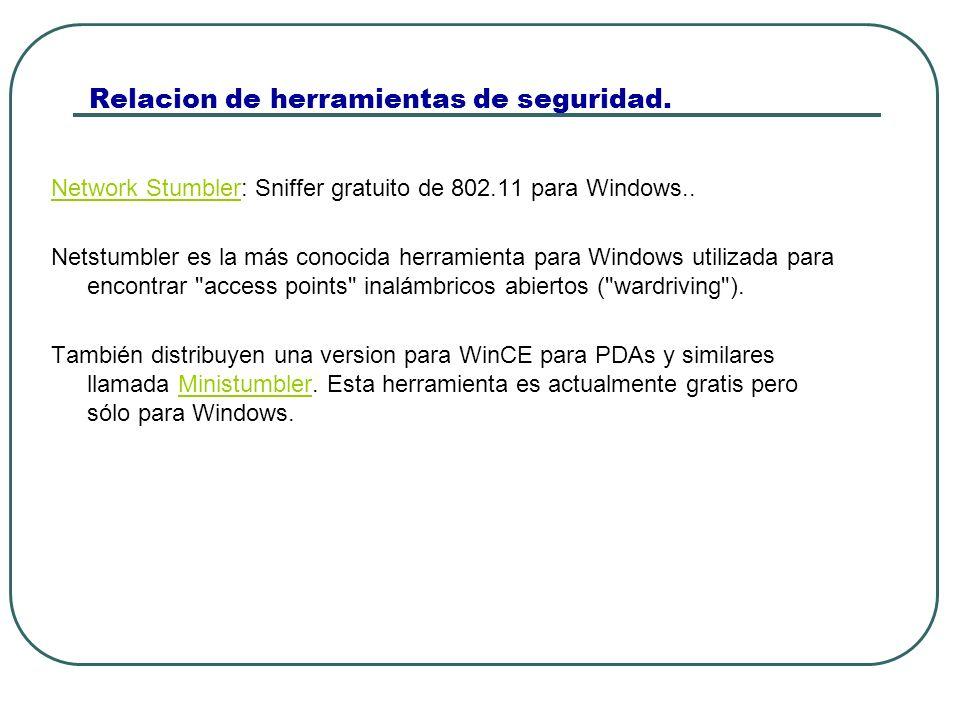 Relacion de herramientas de seguridad. Network StumblerNetwork Stumbler: Sniffer gratuito de 802.11 para Windows.. Netstumbler es la más conocida herr