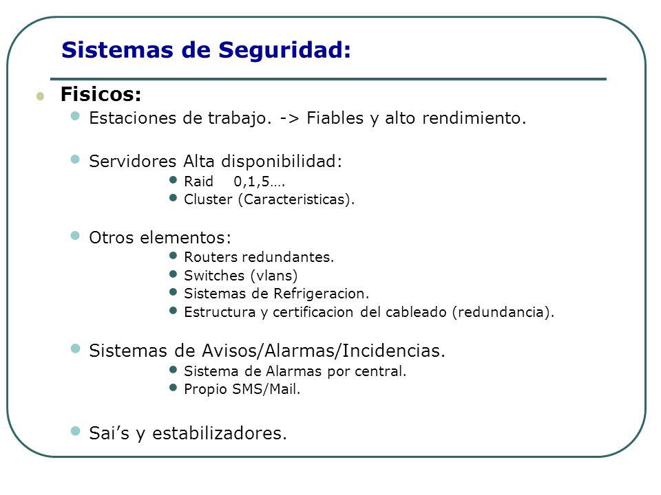 Sistemas de Seguridad: Fisicos: Estaciones de trabajo. -> Fiables y alto rendimiento. Servidores Alta disponibilidad: Raid0,1,5…. Cluster (Caracterist