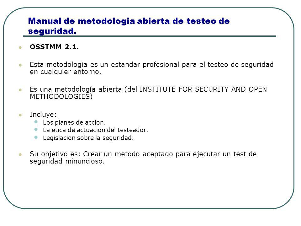 Manual de metodologia abierta de testeo de seguridad. OSSTMM 2.1. Esta metodologia es un estandar profesional para el testeo de seguridad en cualquier
