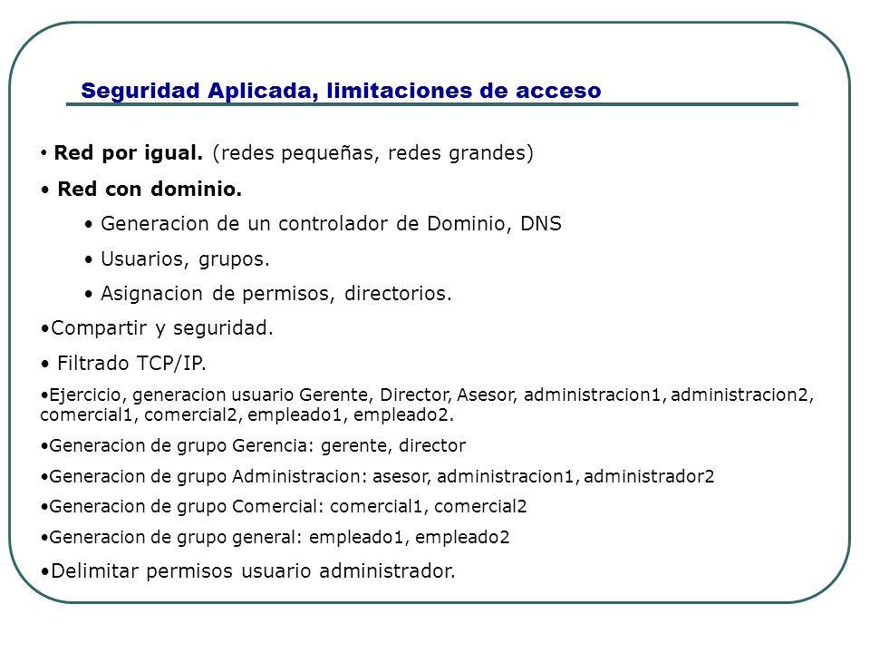 Seguridad Aplicada, limitaciones de acceso Red por igual. (redes pequeñas, redes grandes) Red con dominio. Generacion de un controlador de Dominio, DN