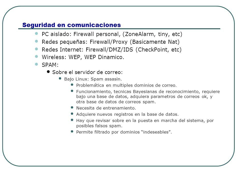 Seguridad en comunicaciones PC aislado: Firewall personal, (ZoneAlarm, tiny, etc) Redes pequeñas: Firewall/Proxy (Basicamente Nat) Redes Internet: Fir