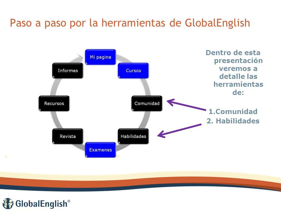 Paso a paso por la herramientas de GlobalEnglish Dentro de esta presentación veremos a detalle las herramientas de: 1.Comunidad 2.