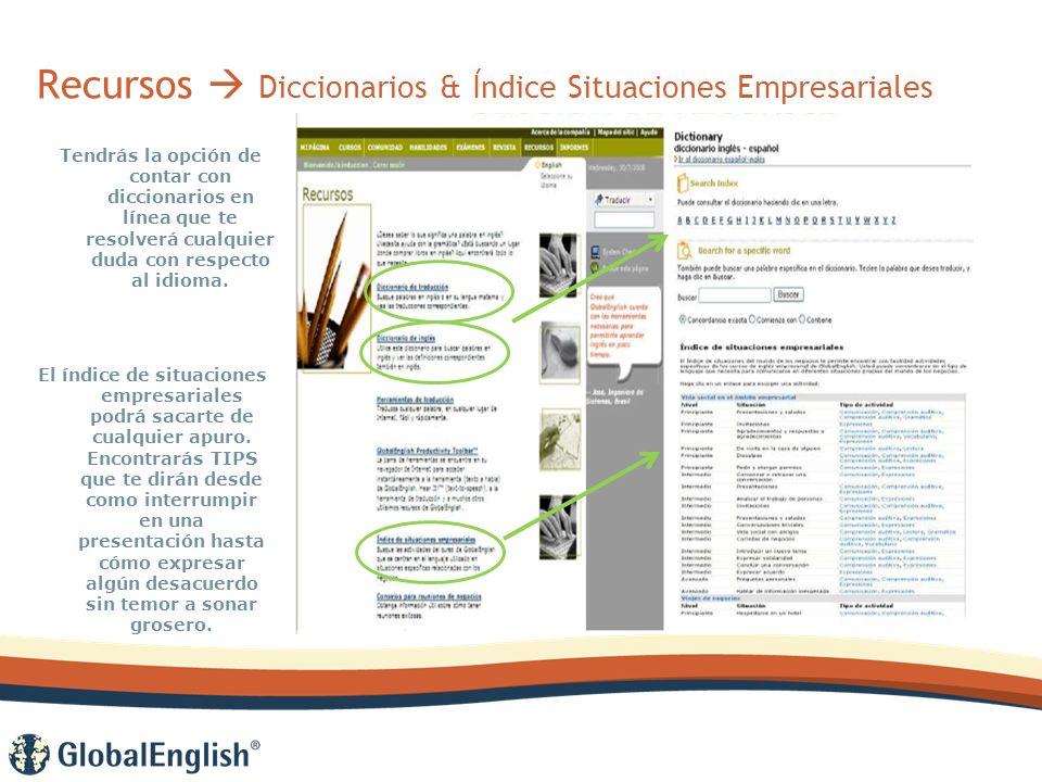 Recursos Diccionarios & Índice Situaciones Empresariales Tendrás la opción de contar con diccionarios en línea que te resolverá cualquier duda con respecto al idioma.