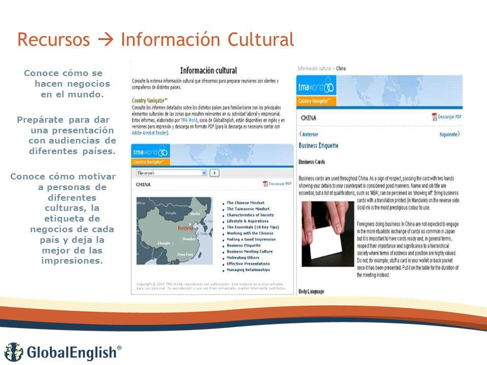 Recursos Información Cultural Conoce cómo se hacen negocios en el mundo.