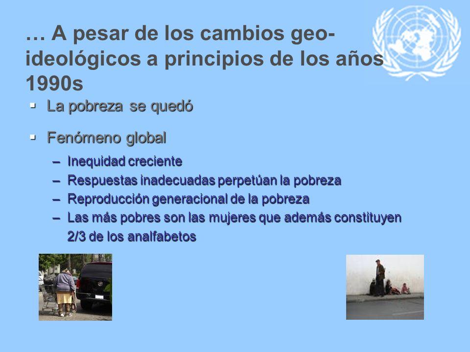 … A pesar de los cambios geo- ideológicos a principios de los años 1990s La pobreza se quedó La pobreza se quedó Fenómeno global Fenómeno global –Ineq