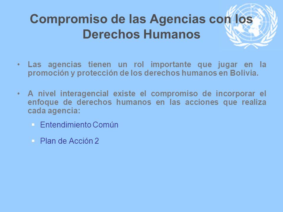 Compromiso de las Agencias con los Derechos Humanos Las agencias tienen un rol importante que jugar en la promoción y protección de los derechos human