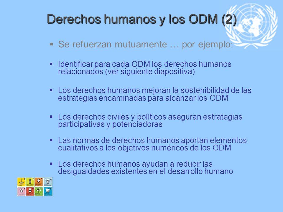 Derechos humanos y los ODM (2) Se refuerzan mutuamente … por ejemplo : Identificar para cada ODM los derechos humanos relacionados (ver siguiente diap
