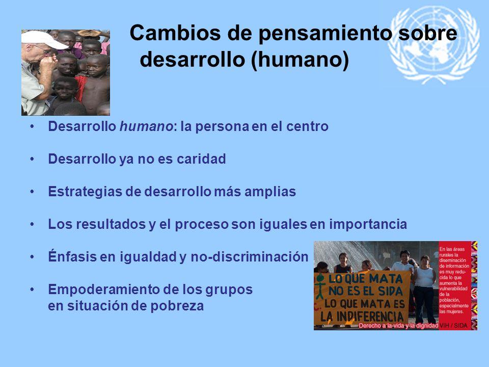 Cambios de pensamiento sobre desarrollo (humano) Entre otros: Desarrollo humano: la persona en el centro Desarrollo ya no es caridad Estrategias de de