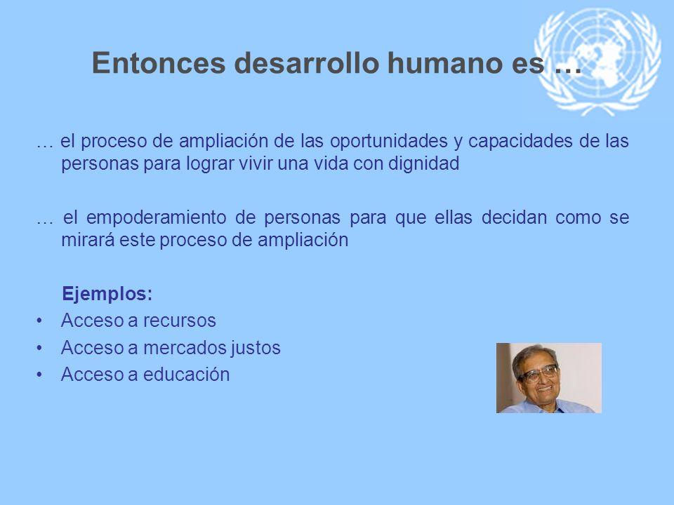 Entonces desarrollo humano es … … el proceso de ampliación de las oportunidades y capacidades de las personas para lograr vivir una vida con dignidad