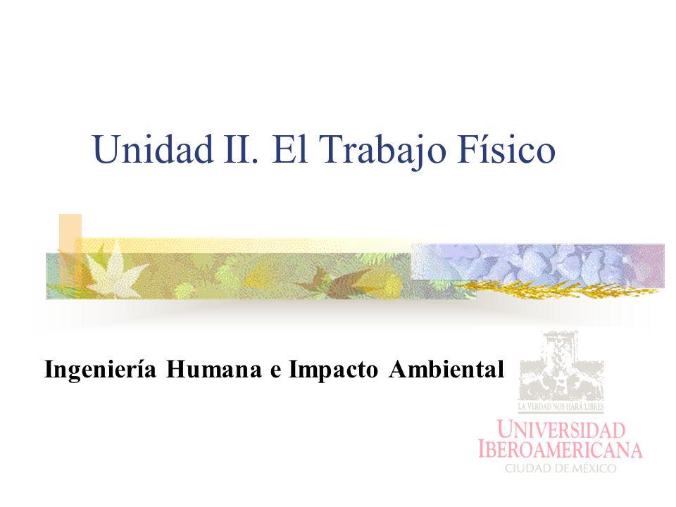 Unidad II. El Trabajo Físico Ingeniería Humana e Impacto Ambiental