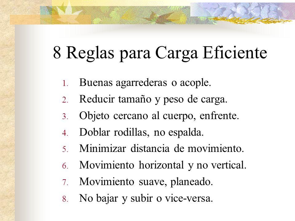 8 Reglas para Carga Eficiente 1. Buenas agarrederas o acople. 2. Reducir tamaño y peso de carga. 3. Objeto cercano al cuerpo, enfrente. 4. Doblar rodi