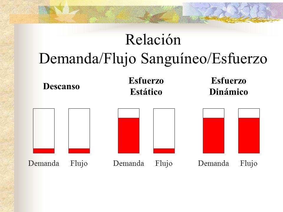 Relación Demanda/Flujo Sanguíneo/Esfuerzo Descanso Esfuerzo Estático Esfuerzo Dinámico DemandaFlujoDemandaFlujoDemandaFlujo