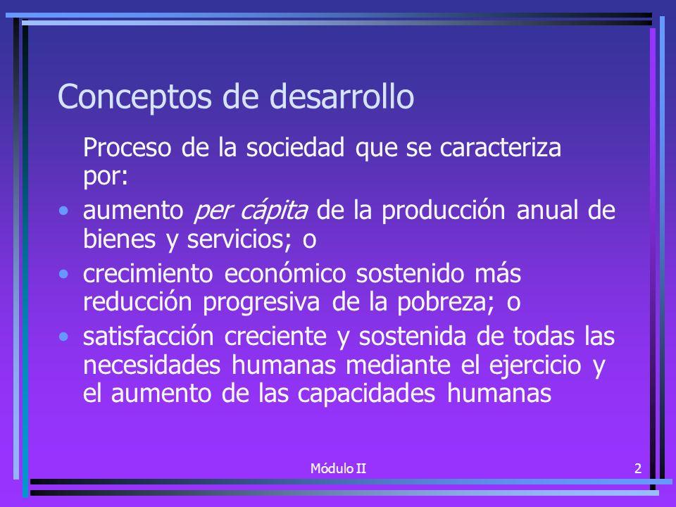 Módulo II2 Conceptos de desarrollo Proceso de la sociedad que se caracteriza por: aumento per cápita de la producción anual de bienes y servicios; o crecimiento económico sostenido más reducción progresiva de la pobreza; o satisfacción creciente y sostenida de todas las necesidades humanas mediante el ejercicio y el aumento de las capacidades humanas