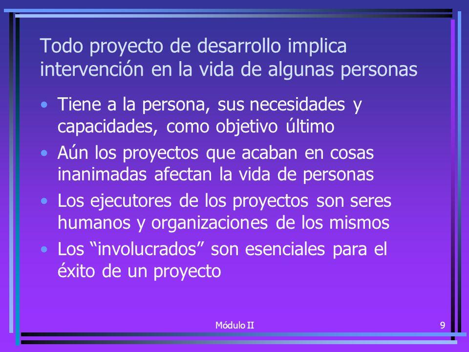 Módulo II9 Todo proyecto de desarrollo implica intervención en la vida de algunas personas Tiene a la persona, sus necesidades y capacidades, como objetivo último Aún los proyectos que acaban en cosas inanimadas afectan la vida de personas Los ejecutores de los proyectos son seres humanos y organizaciones de los mismos Los involucrados son esenciales para el éxito de un proyecto