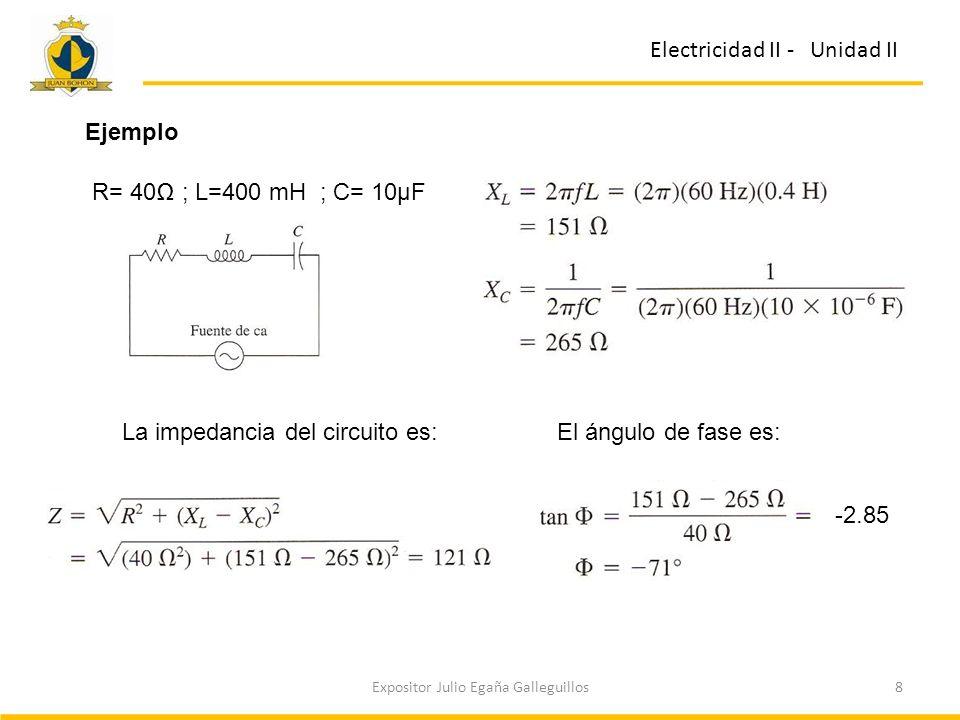 8Expositor Julio Egaña Galleguillos Electricidad II - Unidad II Ejemplo R= 40 ; L=400 mH ; C= 10µF La impedancia del circuito es:El ángulo de fase es: