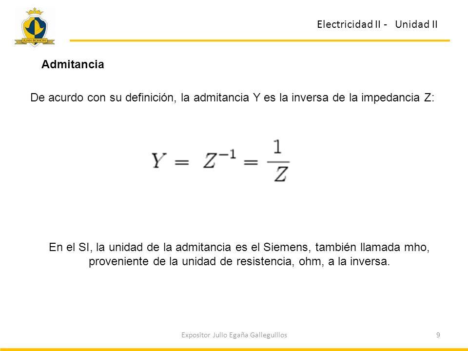 9Expositor Julio Egaña Galleguillos Electricidad II - Unidad II Admitancia De acurdo con su definición, la admitancia Y es la inversa de la impedancia