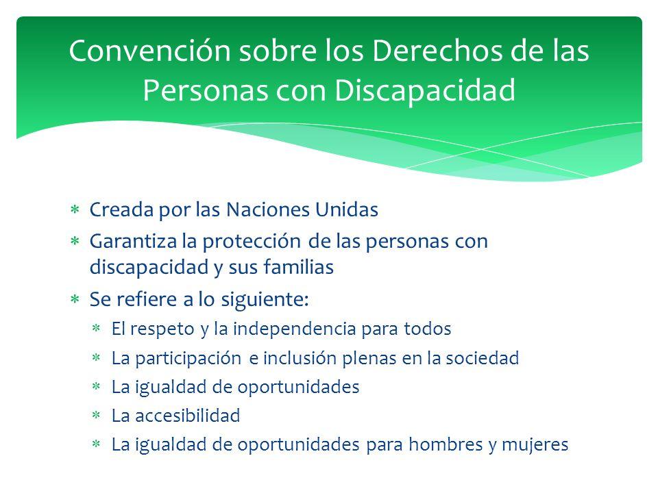 Creada por las Naciones Unidas Garantiza la protección de las personas con discapacidad y sus familias Se refiere a lo siguiente: El respeto y la inde