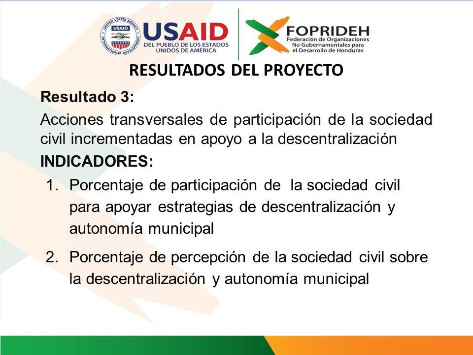 Resultado 2: Fortalecido el marco jurídico para la autonomía fiscal municipal. INDICADORES: Índice de la autonomía fiscal municipal (recursos propios/