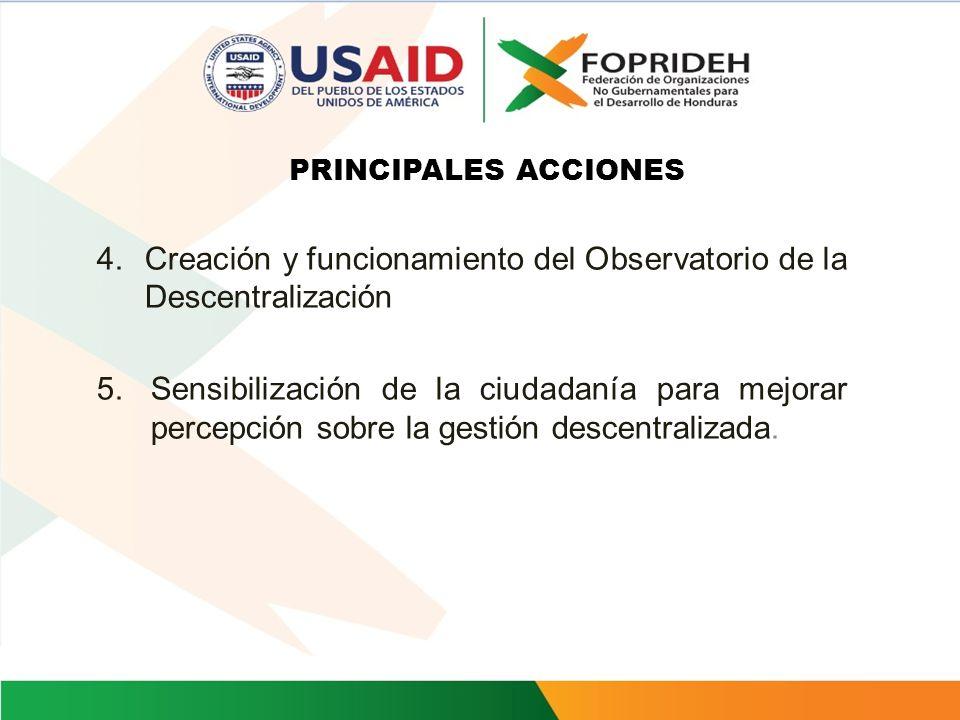 PRINCIPALES ACCIONES 1.Apoyo a la socialización y elaboración de proyectos de ley a favor de autonomía local y descentralización fiscal. 2.Apoyar a lo