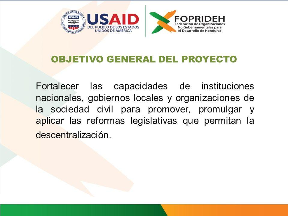 DATOS GENERALES DEL PROYECTO -Ejecutor: Federación de Organizaciones No Gubernamentales para el Desarrollo de Honduras (FOPRIDEH) - Fuente: USAID Esta