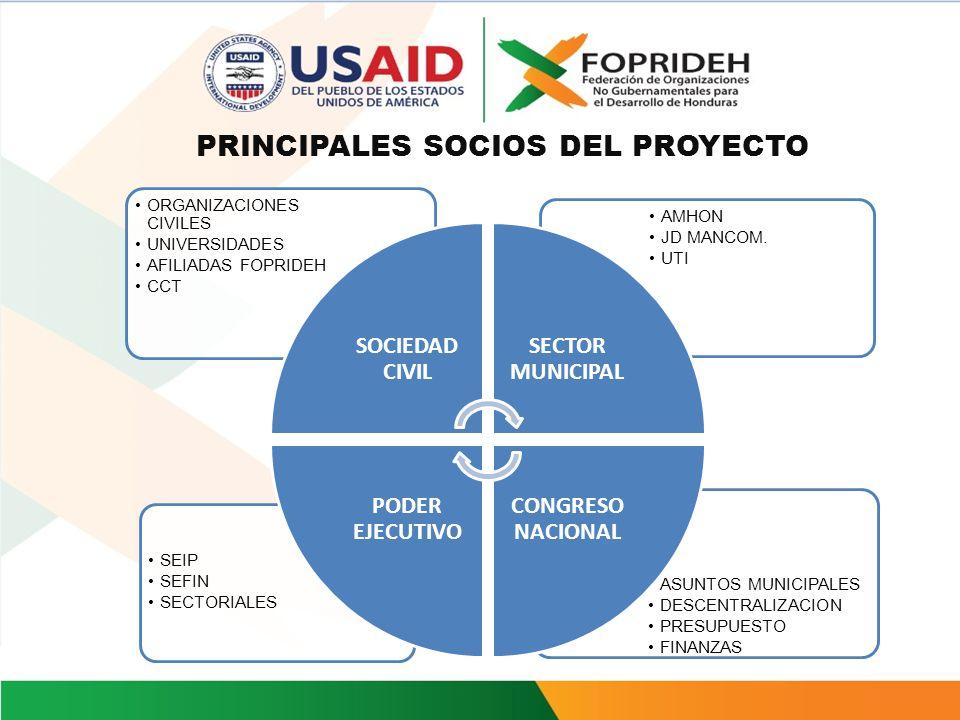 OBJETIVO GENERAL DEL PROYECTO Fortalecer las capacidades de instituciones nacionales, gobiernos locales y organizaciones de la sociedad civil para pro