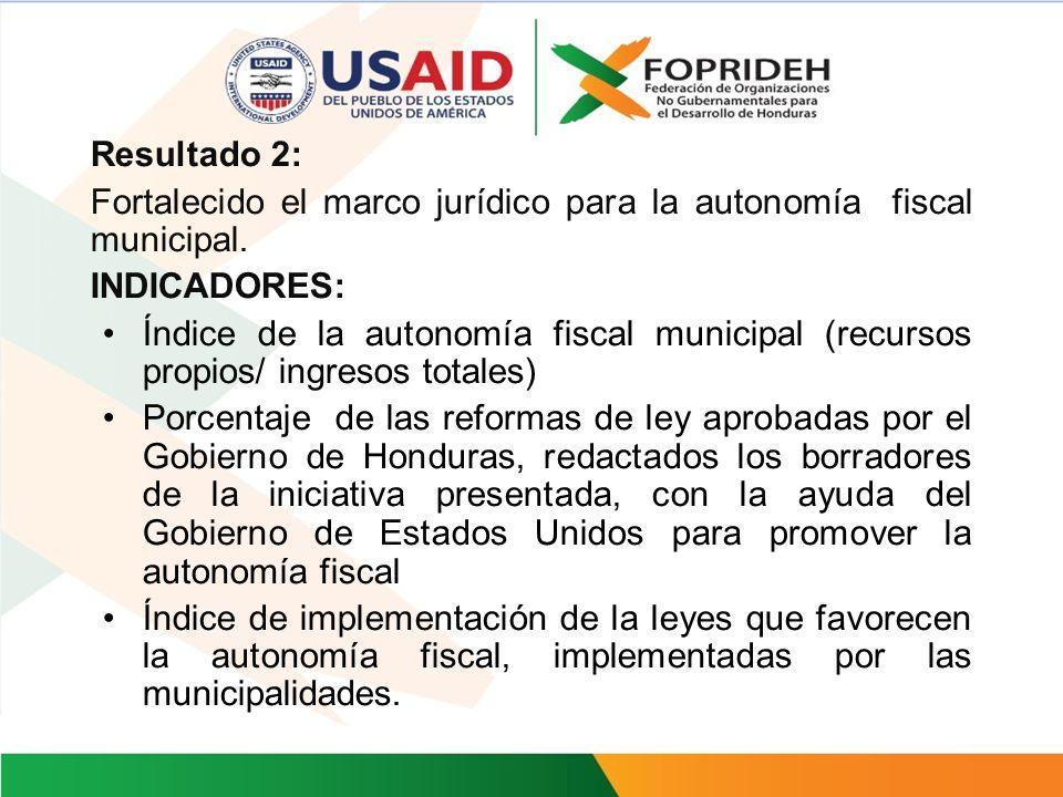 Resultado 1: Fortalecido el marco legal para incrementar la autonomía municipal. INDICADORES: Total de recursos administrados por los gobiernos locale