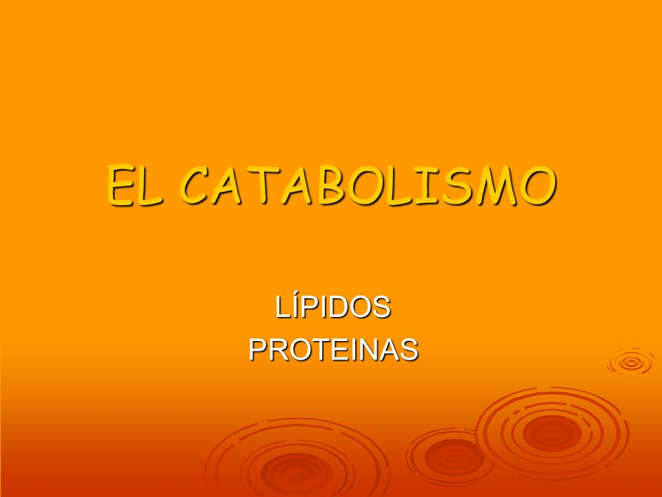 EL CATABOLISMO LÍPIDOSPROTEINAS