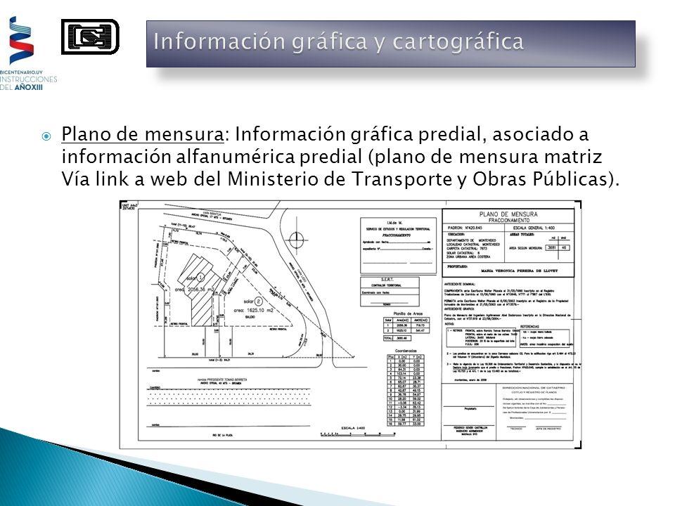Plano de mensura: Información gráfica predial, asociado a información alfanumérica predial (plano de mensura matriz Vía link a web del Ministerio de T