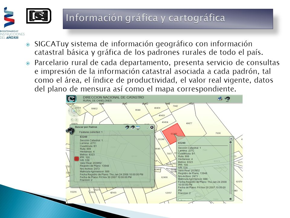 SIGCATuy sistema de información geográfico con información catastral básica y gráfica de los padrones rurales de todo el país. Parcelario rural de cad
