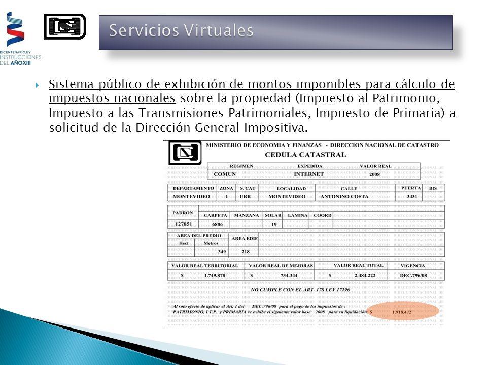 Sistema público de exhibición de montos imponibles para cálculo de impuestos nacionales sobre la propiedad (Impuesto al Patrimonio, Impuesto a las Tra