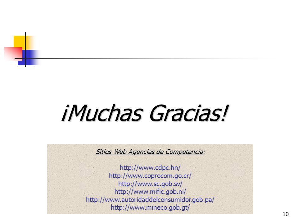 10 ¡Muchas Gracias! Sitios Web Agencias de Competencia: http://www.cdpc.hn/ http://www.coprocom.go.cr/ http://www.sc.gob.sv/ http://www.mific.gob.ni/