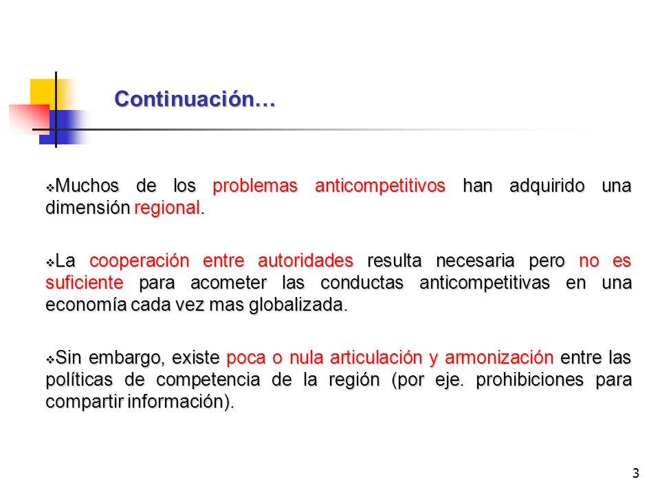 3 Continuación… Muchos de los problemas anticompetitivos han adquirido una dimensión regional. Muchos de los problemas anticompetitivos han adquirido