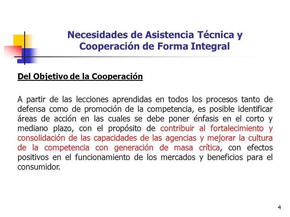 4 Necesidades de Asistencia Técnica y Cooperación de Forma Integral Del Objetivo de la Cooperación A partir de las lecciones aprendidas en todos los p