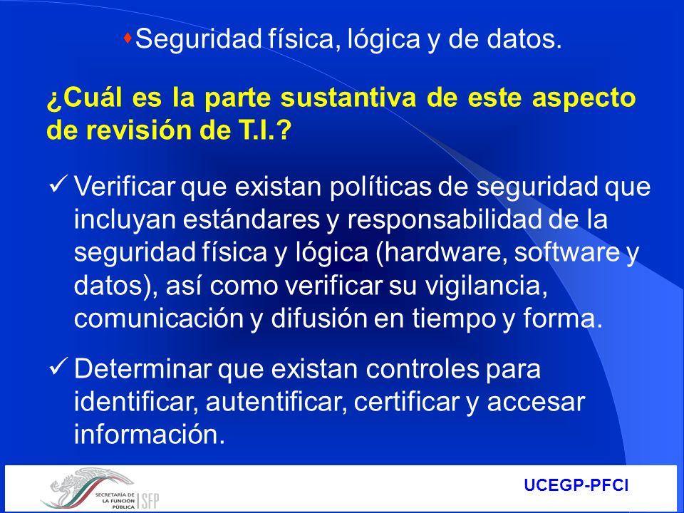UCEGP-PFCI ¿Cuál es la parte sustantiva de este aspecto de revisión de T.I.? Verificar que existan políticas de seguridad que incluyan estándares y re