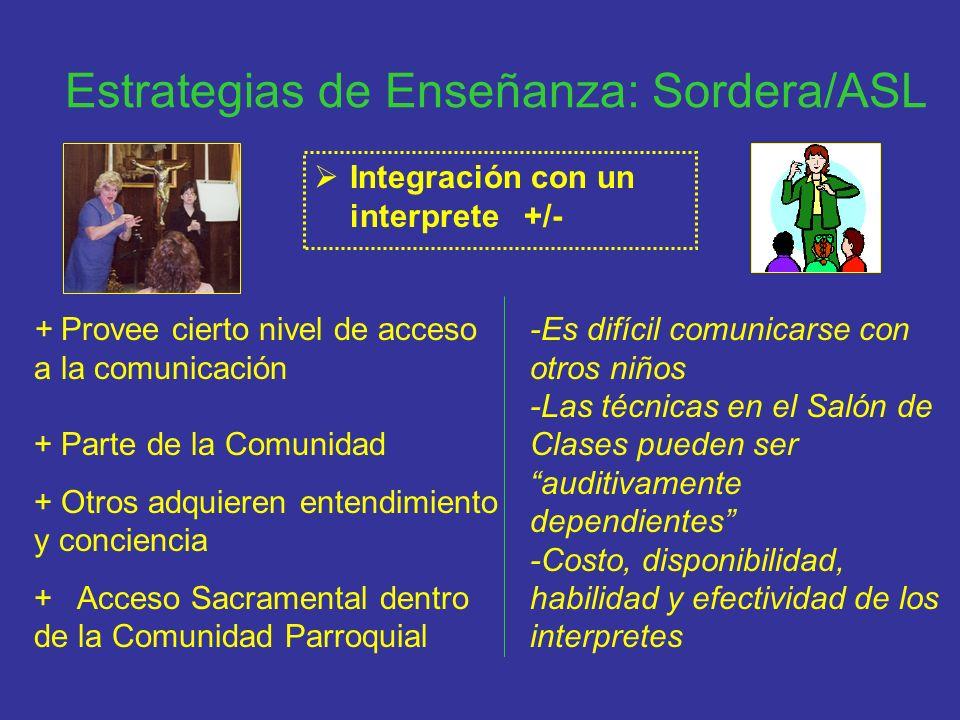Estrategias de Enseñanza: Sordera/ASL Integración con un interprete +/- + Provee cierto nivel de acceso a la comunicación + Parte de la Comunidad + Ot
