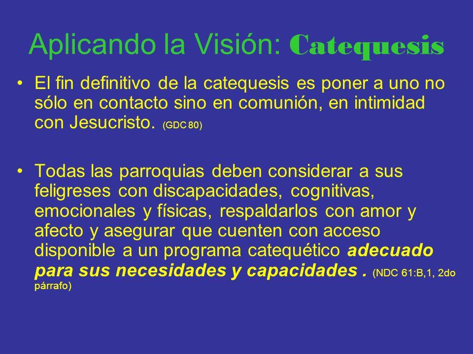 Aplicando la Visión: Catequesis El fin definitivo de la catequesis es poner a uno no sólo en contacto sino en comunión, en intimidad con Jesucristo. (