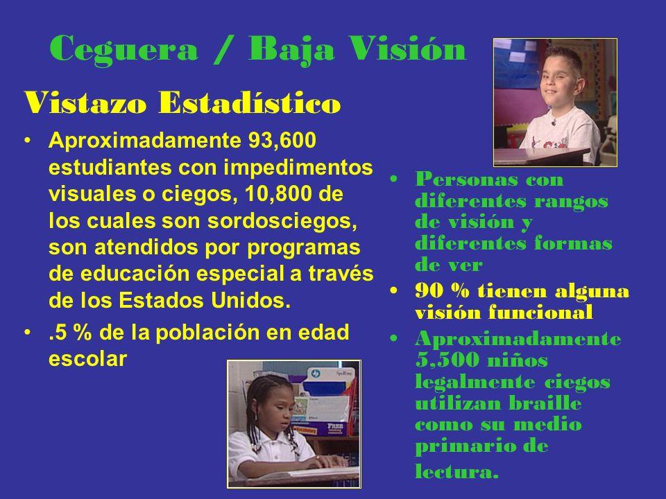 Ceguera / Baja Visión Vistazo Estadístico Aproximadamente 93,600 estudiantes con impedimentos visuales o ciegos, 10,800 de los cuales son sordosciegos