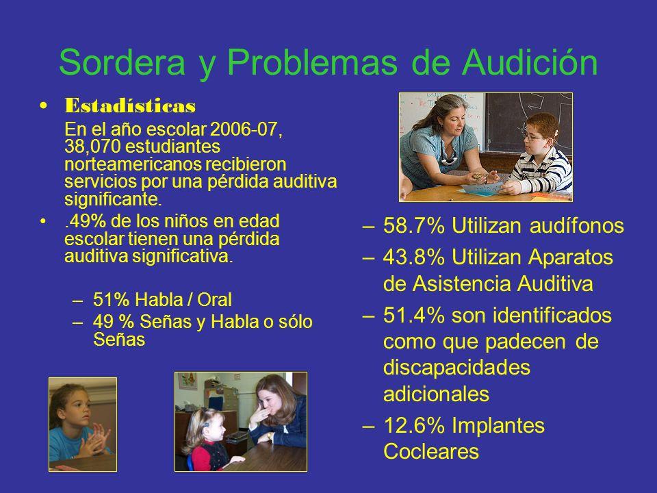 Sordera y Problemas de Audición Estadísticas En el año escolar 2006-07, 38,070 estudiantes norteamericanos recibieron servicios por una pérdida auditi