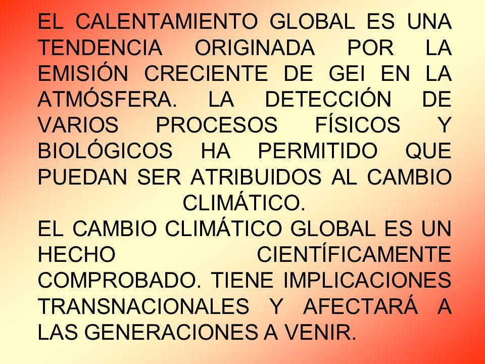 EL CALENTAMIENTO GLOBAL ES UNA TENDENCIA ORIGINADA POR LA EMISIÓN CRECIENTE DE GEI EN LA ATMÓSFERA.