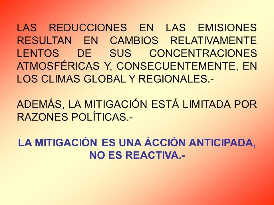 LAS REDUCCIONES EN LAS EMISIONES RESULTAN EN CAMBIOS RELATIVAMENTE LENTOS DE SUS CONCENTRACIONES ATMOSFÉRICAS Y, CONSECUENTEMENTE, EN LOS CLIMAS GLOBAL Y REGIONALES.- ADEMÁS, LA MITIGACIÓN ESTÁ LIMITADA POR RAZONES POLÍTICAS.- LA MITIGACIÓN ES UNA ÁCCIÓN ANTICIPADA, NO ES REACTIVA.-