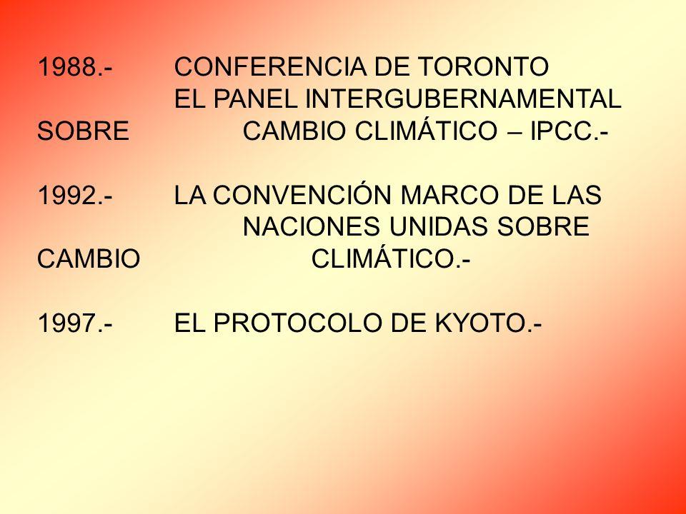 1988.-CONFERENCIA DE TORONTO EL PANEL INTERGUBERNAMENTAL SOBRE CAMBIO CLIMÁTICO – IPCC.- 1992.-LA CONVENCIÓN MARCO DE LAS NACIONES UNIDAS SOBRE CAMBIO CLIMÁTICO.- 1997.-EL PROTOCOLO DE KYOTO.-