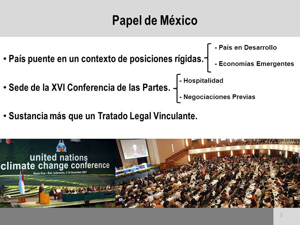 Papel de México País puente en un contexto de posiciones rígidas.