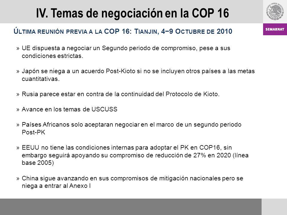 Ú LTIMA REUNIÓN PREVIA A LA COP 16: T IANJIN, 49 O CTUBRE DE 2010 »UE dispuesta a negociar un Segundo periodo de compromiso, pese a sus condiciones estrictas.