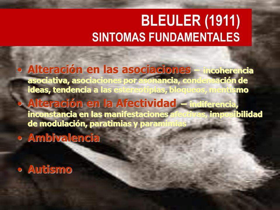BLEULER (1911) SINTOMAS FUNDAMENTALES Alteración en las asociaciones – incoherencia asociativa, asociaciones por asonancia, condensación de ideas, ten