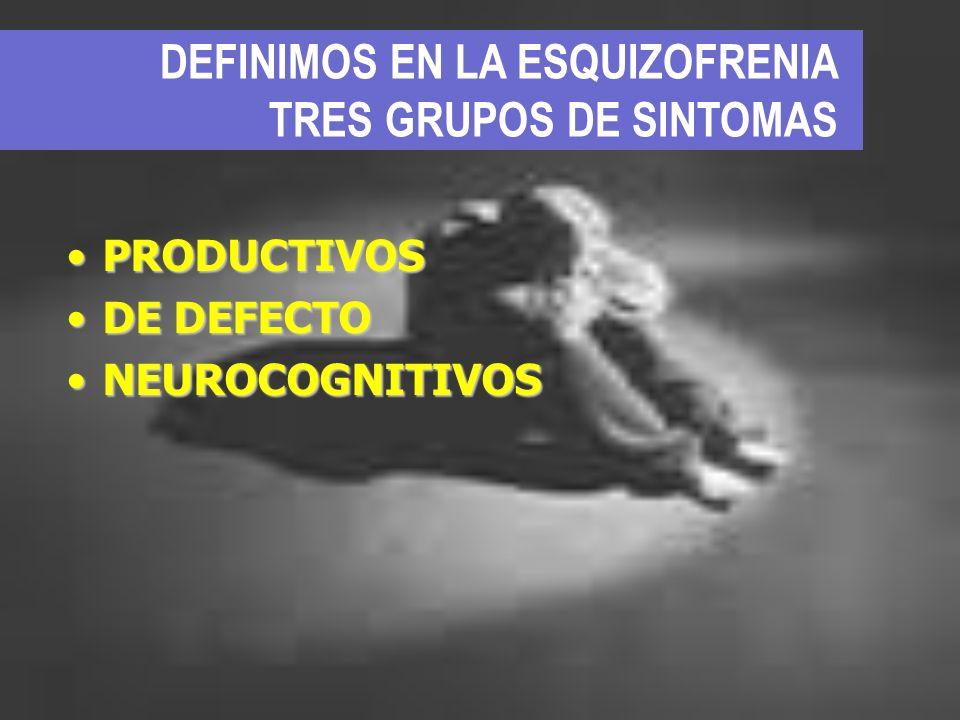 DEFINIMOS EN LA ESQUIZOFRENIA TRES GRUPOS DE SINTOMAS PRODUCTIVOSPRODUCTIVOS DE DEFECTODE DEFECTO NEUROCOGNITIVOSNEUROCOGNITIVOS