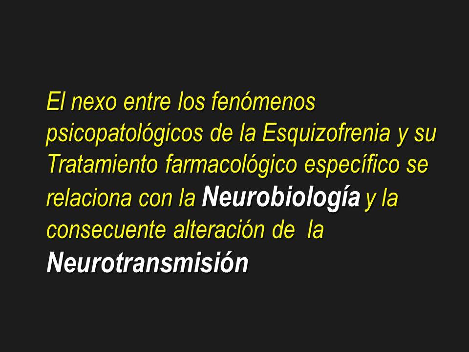 El nexo entre los fenómenos psicopatológicos de la Esquizofrenia y su Tratamiento farmacológico específico se relaciona con la Neurobiología y la cons