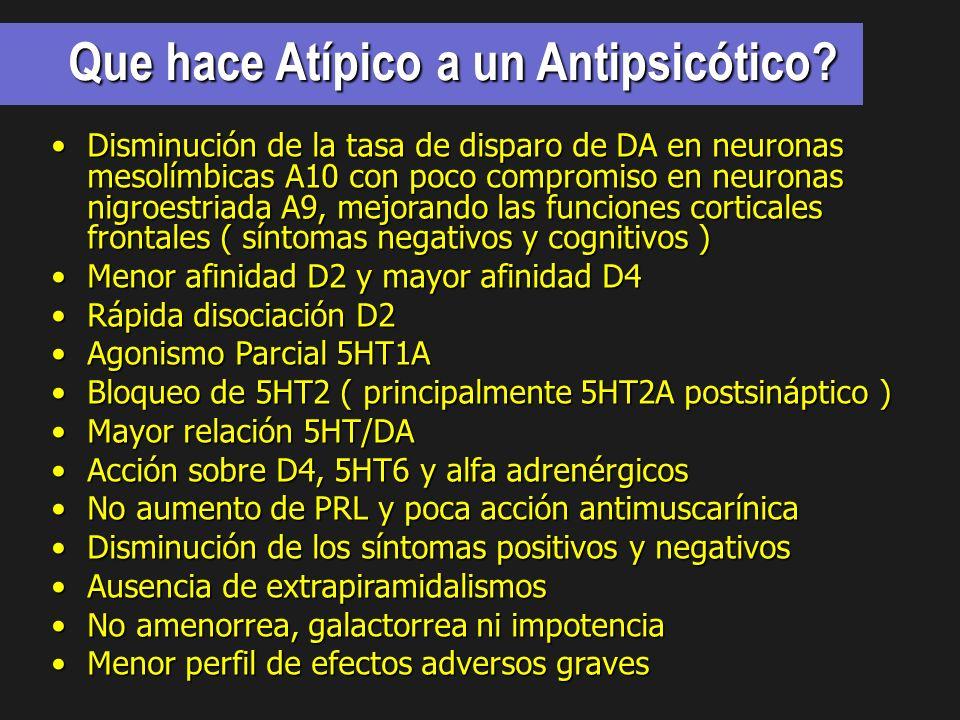 Que hace Atípico a un Antipsicótico? Disminución de la tasa de disparo de DA en neuronas mesolímbicas A10 con poco compromiso en neuronas nigroestriad
