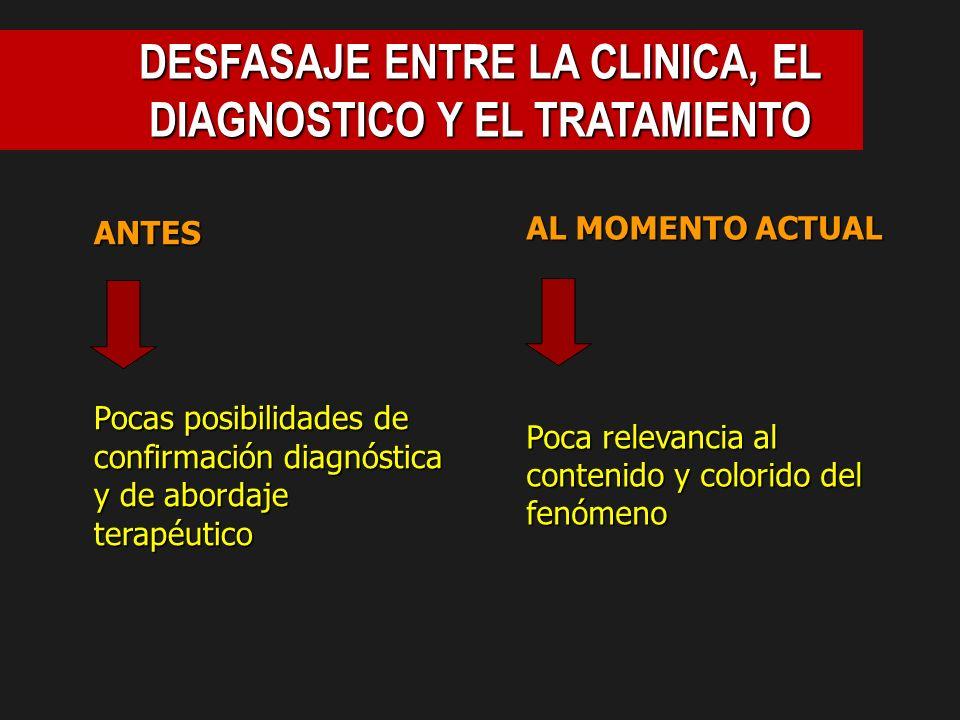 DESFASAJE ENTRE LA CLINICA, EL DIAGNOSTICO Y EL TRATAMIENTO ANTES Pocas posibilidades de confirmación diagnóstica y de abordaje terapéutico AL MOMENTO