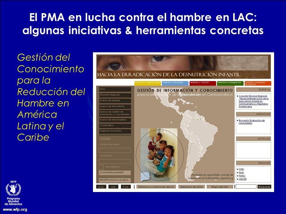 www.wfp.org El PMA en lucha contra el hambre en LAC: algunas iniciativas & herramientas concretas Gestión del Conocimiento para la Reducción del Hambr